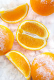 Oranges  on the snow Royalty Free Stock Image