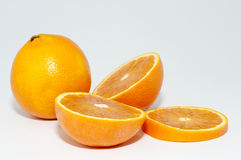 Oranges. Some Oranges cut on the middle royalty free stock photo