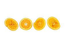 Oranges. Squeezed oranges halves in a row Stock Photos