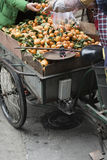 Oranges stall on tricycle Royalty Free Stock Photography