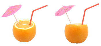 Oranges with straw. Orange with cocktail umbrella and drinking straw on white two different positions composite Stock Images
