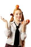 Oranges sur une tête Photos stock