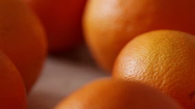 Oranges on table, dolly shot closeup stock video