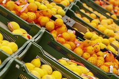 Oranges and tangerines in boxes in shop windows stock photo