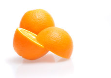 Oranges. Three oranges fruit on white background Stock Photo