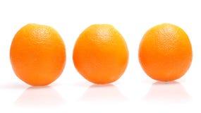 Oranges. Three oranges fruit on white background Royalty Free Stock Photos