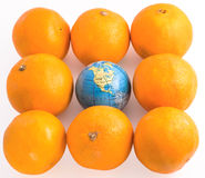 Oranges  with a toy globe Stock Images