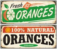 Oranges vintage metal signs set. With juicy fruit and creative typo for natural organic food product. Vector image vector illustration