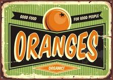 Oranges vintage sign. Fresh organic oranges vintage sign template for fruit vendor. Retro label design for natural food products Stock Photo