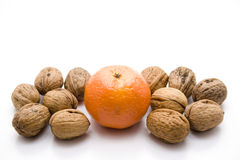Oranges with walnuts Royalty Free Stock Photography