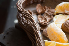 Oranges and walnuts Royalty Free Stock Images