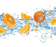 Oranges with water splash Stock Photo