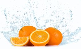 Oranges with Water splashes Royalty Free Stock Photo