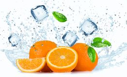 Oranges with Water splashes Stock Photos