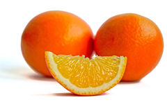 Oranges on a White Background. Closeup of oranges on a white background stock image