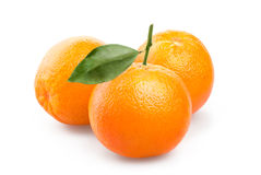 Oranges on white background. Ripe oranges with leaves on white background Royalty Free Stock Images