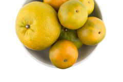 Oranges in white bowl Stock Photos