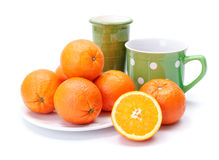 Oranges on white plate Stock Photography