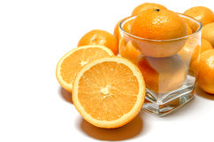Oranges Whole And Halved Stock Photos