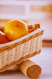 Oranges in wicker basket Stock Photography