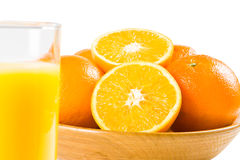 Oranges With A Glass Of Orange Juice Royalty Free Stock Image