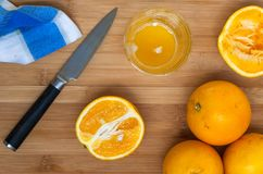 Oranges on a wooden board royalty free stock photo