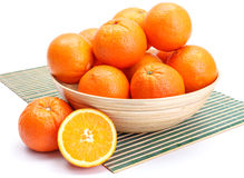 Oranges in wooden bowl Royalty Free Stock Image
