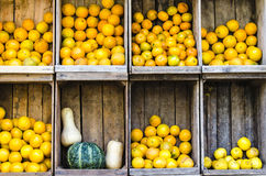 Oranges in wooden boxes Royalty Free Stock Images