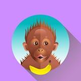 Orangotango engraçado bonito do macaco ilustração stock