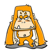 Orangutan. There is a cartoon orangutan on the white background,vector illustration Royalty Free Stock Photos