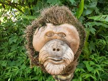 Orangutan Head Wood Sculpture Carved by Hand. In Orangutan Conservation in Indonesia Royalty Free Stock Image