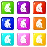 Orangutan icons 9 set. Orangutan icons of 9 color set isolated vector illustration Royalty Free Stock Photos