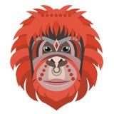 Orangutan kierowniczy logo Małpia Wektorowa dekoracyjna emblemat ilustracja ilustracji