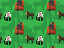 Orangutan Mandrill Cartoon Seamless Wallpaper
