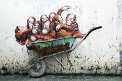 Orangutans Painting Ernest Zacharevic Stock Images