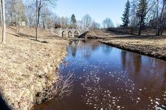 Oranienbaum. Petrovsky bridge. Stock Photo