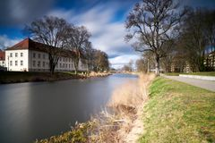Oranienburg at very stormy weather. Along river Havel in Oranienburg germany, brandenburg a day with very heavy wind - longtime exposures with LEE big stopper Stock Image