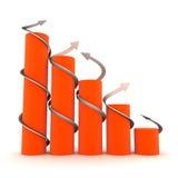 Oranje 3D grafiek met verdraaide pijlen Royalty-vrije Stock Afbeeldingen
