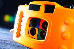 Oranje 4 frame stuk speelgoed camera Royalty-vrije Stock Afbeeldingen