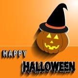 Oranje achtergrond, illustratie, pompoen Halloween, zwarte hoed met tekst, gelukkige hello achtergrond voor het maken van etikett stock foto