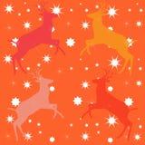 Oranje achtergrond met vormen van deers en de sterren Stock Afbeeldingen