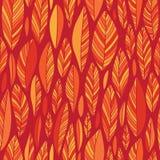 Oranje Autumn Leaves op Rood Naadloos Patroon royalty-vrije illustratie