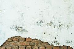 Oranje bakstenen die uit van onder een witte schilmuur gluren vernietigde die bakstenen muur, met pleister en verf wordt geschild stock foto's