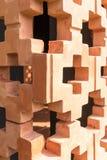 Oranje bakstenen muurpatroon in perspectiefmening stock foto's