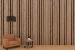 Oranje bankontwerp met lamp in houten plankruimte in het 3D teruggeven Royalty-vrije Stock Afbeeldingen