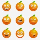 Oranje beeldverhaal met vele uitdrukkingen Stock Afbeelding
