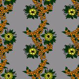 Oranje bessen en gele bloemen stock illustratie