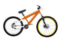 Oranje bike. Wonderful new orange bike on white background Stock Photos