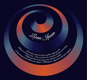Oranje-blauw spiraalvormig tekstmalplaatje op donkerblauwe achtergrond vector illustratie