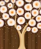 Oranje bloeiende boom op bruin Royalty-vrije Stock Afbeeldingen